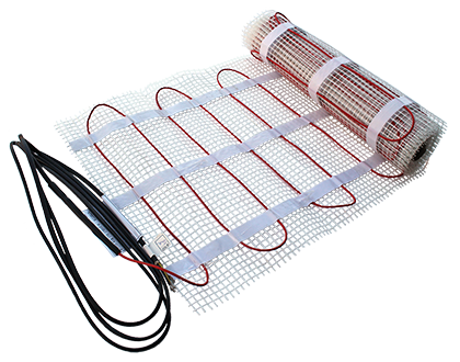 Radiant heat cable pre-spaced in mat for floor heating system.