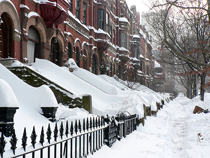 Apartment buildings in New York City after snowstorm