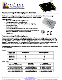 ProLine low-voltage roof deicing data sheet.