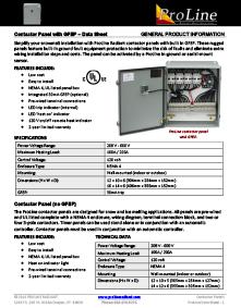 Contactor panels data sheet