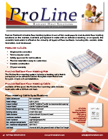 ProLine floor heating cable and mats with thermostats technical guide