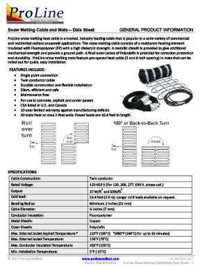 ProLine snow melting heating cable and mats data sheet