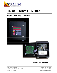 ProLine TraceMaster 102 heat tracing control operator's manual