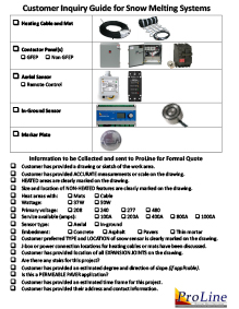 ProLine snow melting system customer inquiry guide