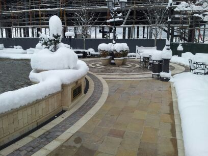 Heated pavers outdoor mall