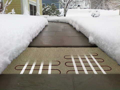 Heated stone paver walkway