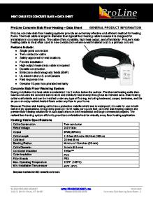 ProLine In-Slab (Storage Heat) floor heating cable