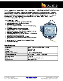 WS-8C aerial mount snow sensor data sheet