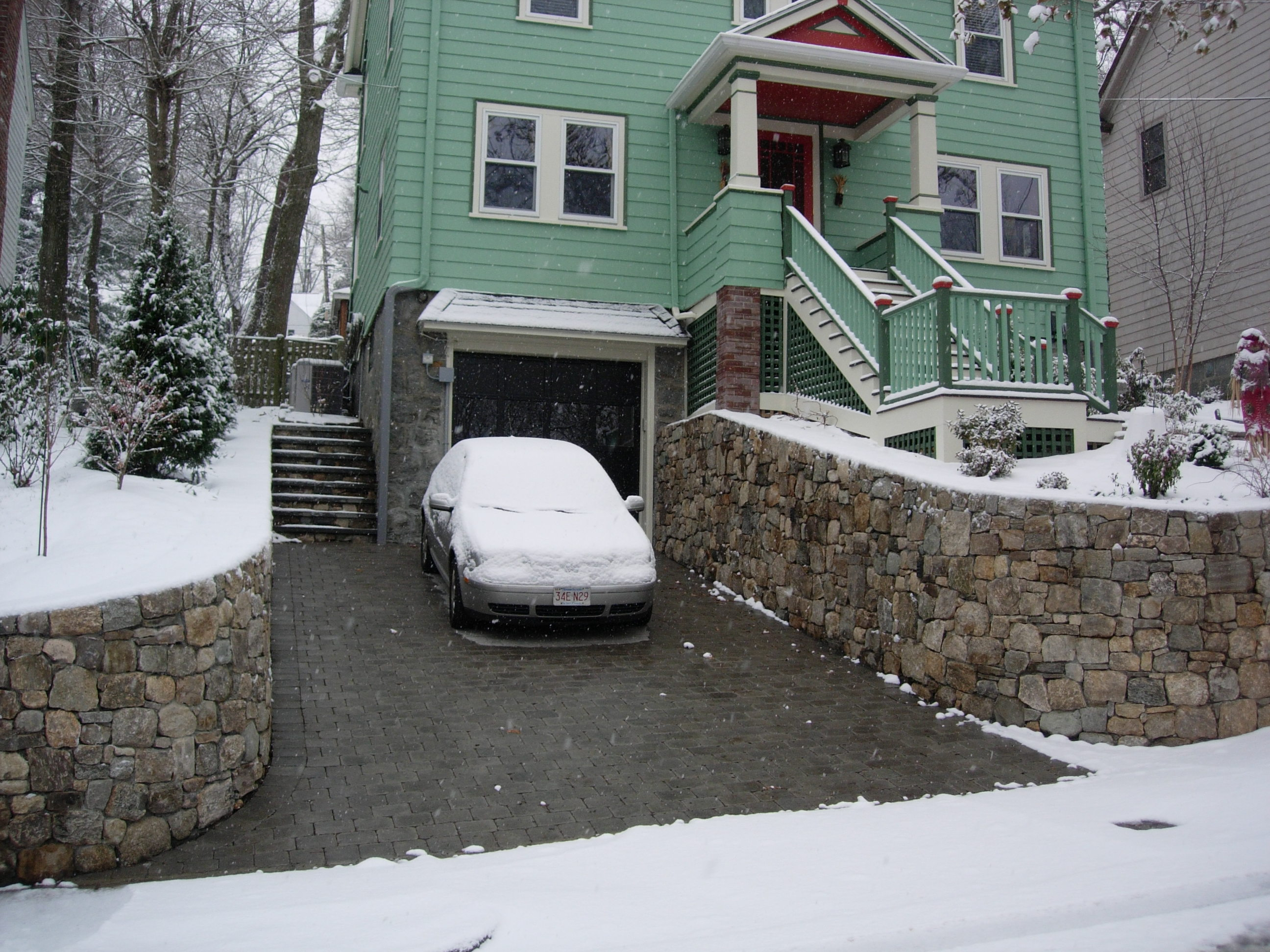 Heated paver driveway