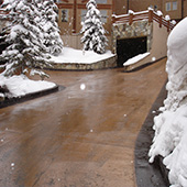Heated driveway and parking area entrance at mountain resort